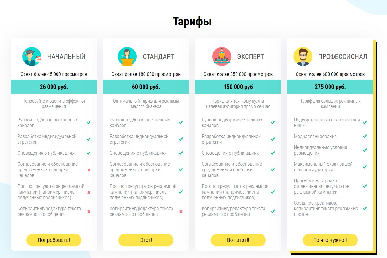 Telega.in - раздел с тарифами