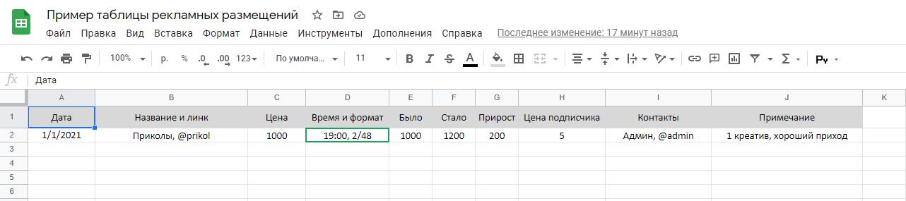 Пример таблицы в Google