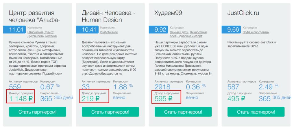 Заработок на каналах Телеграм с помощью партнерских программ: JustClick