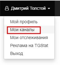 Работа с каналами на сайте тгстат ру